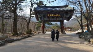 Kaksi korealaista naista kävelemässä Seoraksanin kansallispuistossa Etelä- Koreassa.