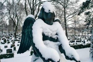 Lumi on peittänyt enkelipatsaan kasvot Hietaniemen hautausmaalla.