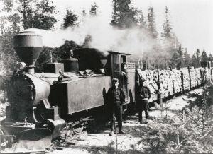 Mustavalkoisessa arkistokuvassa veturi kapearaiteisella junaradalla.