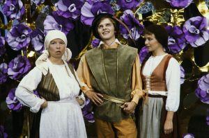 Prinssi Florestan (Matti O Ranin) ja kyläläisiä Televisioteatterin Prinsessa Ruusunen -elokuvassa 1982.