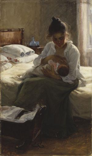 Öljymaalaus, jossa nainen imettää vauvaa.