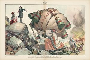 En kromolitografi som föreställer ett USA som uppmanar den ryska tsaren Nikoja II att sluta förtrycka den judiska befolkningen.