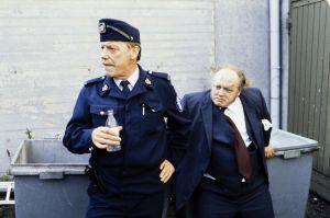 Näyttelijät Tenho Saurén (Reinikainen) ja Pauli Mäkinen (Grönblom).