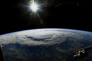 Astronauten Ricky Arnold fotograferade orkanen Florence 14 september 2018 från ISS.
