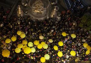 Paraplyrevolutionen i Hongkong 2014.