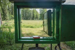 Näkymä vihreän luukun läpi niitylle Matti Järvenpään Rautapuistossa Hämeenkyrössä.