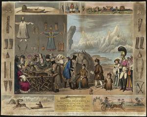 En illustration av I R Cruikshank som föreställer den samiska utställningen på Egyptian Hall i Piccadilly i London år 1822.
