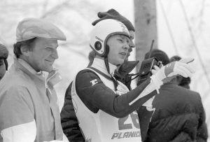 Matti Nykänen tillsammans med Matti Pulli och Risto Pirttimäen, Planica 1985.