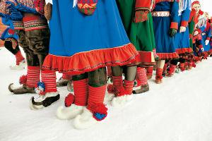 Norska samer i folkddräkter.
