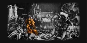 Tuntemattoman maalarin teos: Inferno. Korostettuna ylensyöntiä symboloiva osuus.