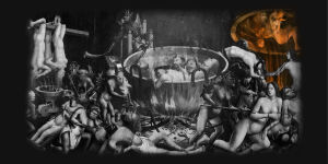 Tuntemattoman maalarin teos: Inferno. Kateutta symboloiva osuus korostettu.