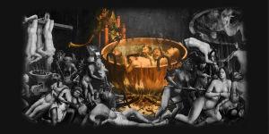 TUntemattoman taiteilijan teos: Inferno. Ylpeyttä symboloiva osuus korostettu.