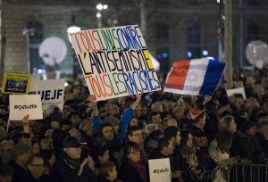 Demonstrationer mot antisemitism hölls på olika håll i Frankrike den 19 februari 2019. Bilden är från Place de la Republique i huvudstaden Paris.