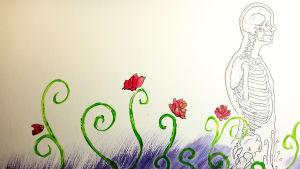 piirros, kukkia ja ihmisen läpileikkaus