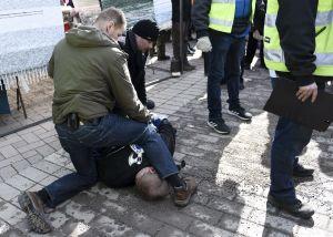 Polisen tog hand om den man som försökte slå Timo Soini under ett valmöte i Korso i Vanda den 24 mars 2019.