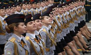 Marsch på Segerdagsparaden i Moskva 2019.