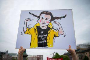 En tecknad Greta Thunberg ser ut som Pippi Långstrump.