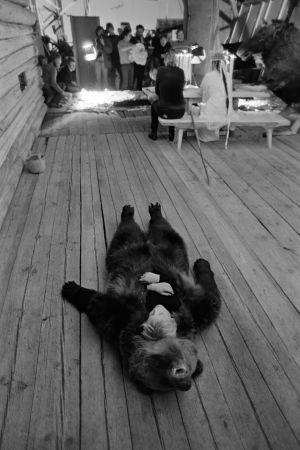 Karhua esittänyt avustaja Samppa Kapanen levähtää tv-sarja Rauta-ajan kuvauksissa. Etualalla pieni poika nukkuu karhun nahkan sisällä, taustalla kuvausryhmää.