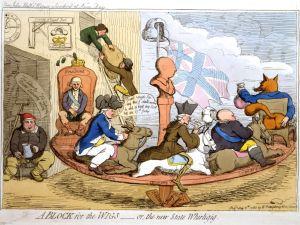 En karikatyrteckning av James Gillray över engelsk 1700-talspolitik.