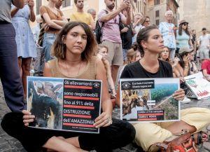 Demonstration för Amazonas i Rom, Italien.