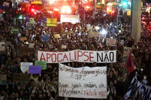 Tusentals människor tog till gatorna Rio De Janeiro för att protestera mot förstörelsen i  Amazonas regnskog.