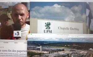 Bildcollage på UPM Kymmene i Frankrike.