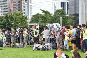 En grupp journalister i Hongkong.