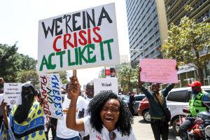 Demonstranter i Nairobi.