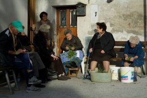 Kvinnor i byn San Michele rensar cikoria. Många tar fortfarande tillvara på och äter det vi ser som ogräs. Maten är just en annan förklaring till varför befolkningen lever länge.