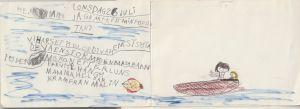 brev skrivet med barnslig handstil från ett barn till sin pappa