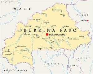 Karta över Burkina Faso