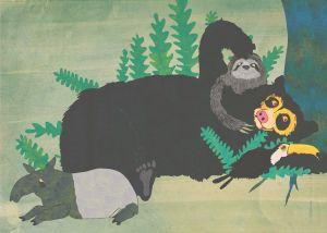 """Illustration ur bilderboken """"Silkesapans skratt""""."""