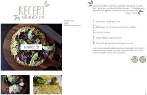 En sida ur en kokbok. På bilderna syns en blomkålspizza.