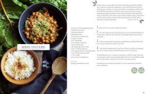 En skål med spenat- och kikärtscurry och en skål med ris på ett bord.