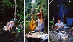 Viidakossa kalasaalis ja sen nuotiolla paisto