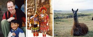 Perulaislapsia kansallispuvuissa ja laama