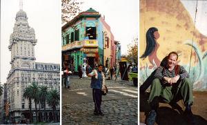 Jukka Kuosmanen Buenos Airesin kadulla, valkosipulinn myyjä ja värikäs kulmatalo; kolmen kuvan kooste