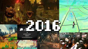 Ett kollage med bilder från Doom, Pokemon Go, Firewatch, Pony Island, Dark Souls 3, Persona 5, No Mans Sky och Stardew Valley