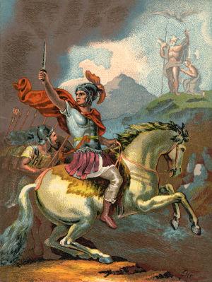 Julius Caesar rider på en vit häst med svärdet i högsta hugg.