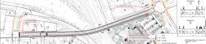 En karta över en bro som visar hur fotgängartrafiken kunde styras.