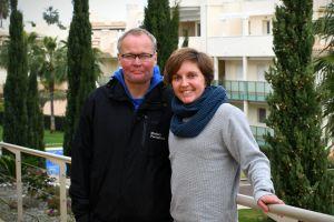 Eevi Bengs och tränaren Jouko Pakarinen i Spanien.