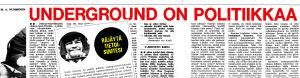 M A Nummisen underground-kirjoitusten otsikoita Intro-lehdessä vuonna 1969.