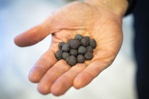 Järnpellets, alltså små svarta kulor i ungefär 1 cm i diameter, i en hand.