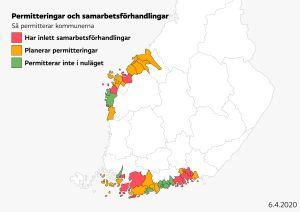 Karta som visar vilka kommuner som planerar permitteringar.