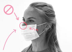 Bild på hur man inte ska bära munskydd. Nästippen sticker fram ovanför skyddet.