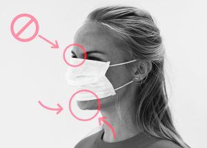Bild på hur man inte ska bära munskydd. Hakan sticker fram nedanom skyddet.