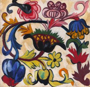 Natalia Goncharova: Gudsmoderntriptyk: Blomornament (1911). Tretjakovgalleriet