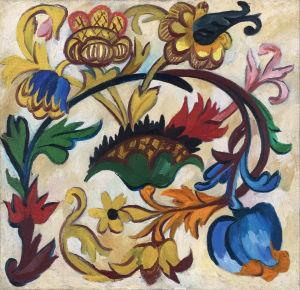 Natalia Goncharova: Gudsmoderntriptyk: Blomornament (1911). Tretjakovgalleriet.