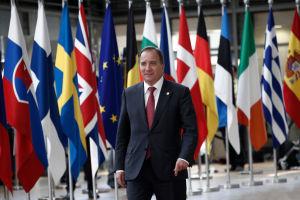 Statsminister Stefan Löfven framför en lång rad av europeiska flaggor.