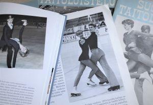 Isdansarna Saila Saarinen och Kim Jacobson på tidningsbilder på 1980-talet.